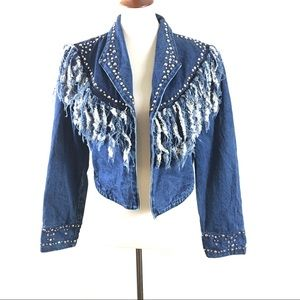 Vintage Denim Fringe Studded Jacket
